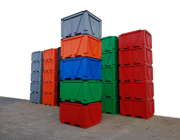 Box Pallet Bins, solid + twin wall-insulated, industrial heavy duty,